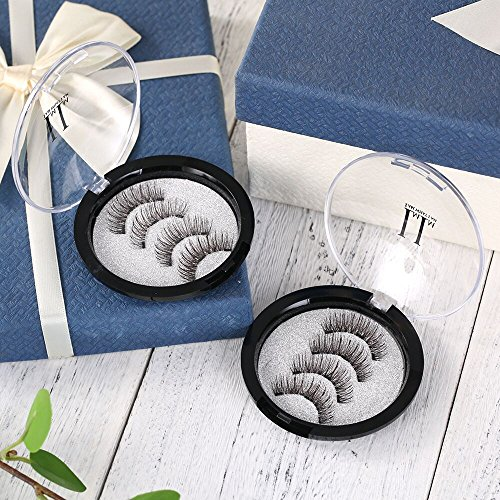 Magnetische Wimpern, IMIM Magnetische Wimpern 3 Magnete [Kein Klebstoff] Magnetische falsche Wimpern wiederverwendbare 3D-Wimpern (2 Paare / 8 PCS)