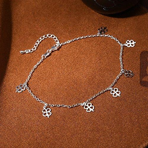 Jiayiqi Femmes Amour Élégant Bracelet De Cheville Bracelet Réglable Homard Fermoir Pied Trèfle