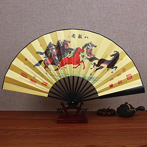 XIAOHAIZI Handfächer,Sommer Chinesischen Stil Männer Bambus Fan Gelb Tier Pferd Vintage Faltfächer Für Hauptwanddekoration Männer Geschenk Fan U-Bahn - Pferd Tanz Kostüm