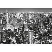 Fotomurale–New York Manhattan–(141i) misura 366x 254cm 8pezzi nero bianco di Midtown Città USA Mare Natura Paesaggio soggiorno cucina camera Motivo del poster carta da parati carta da parati
