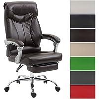 CLP Bürostuhl Big Iowa mit Kunstlederbezug, Chefsessel mit Fußstütze, max. belastbar bis 136 kg, höhenverstellbar Braun