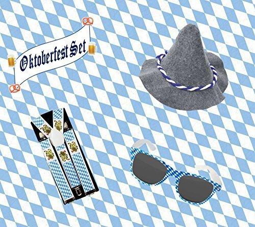 KarnevalsTeufel 3-TLG. Oktoberfest-Set, Seppelhut mit Bayern-Brille und Hosenträger, blau weiß, Bayern, Wies'n, Volksfest -