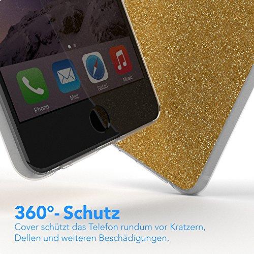 """Apple iPhone 6S Plus / 6 Plus Hülle, EAZY CASE Cover """"Henna"""" - Premium Handyhülle mit Indischer Sonne - Transparente Schutzhülle in Weiß Transparent Gold"""