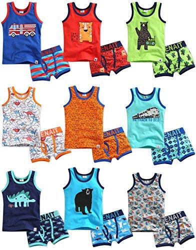 Vaenait baby 86-122 Kinder Jungen 2 Teilen Unterwaesche Unterhemd Boxer Brief Set Tiger Brother S -