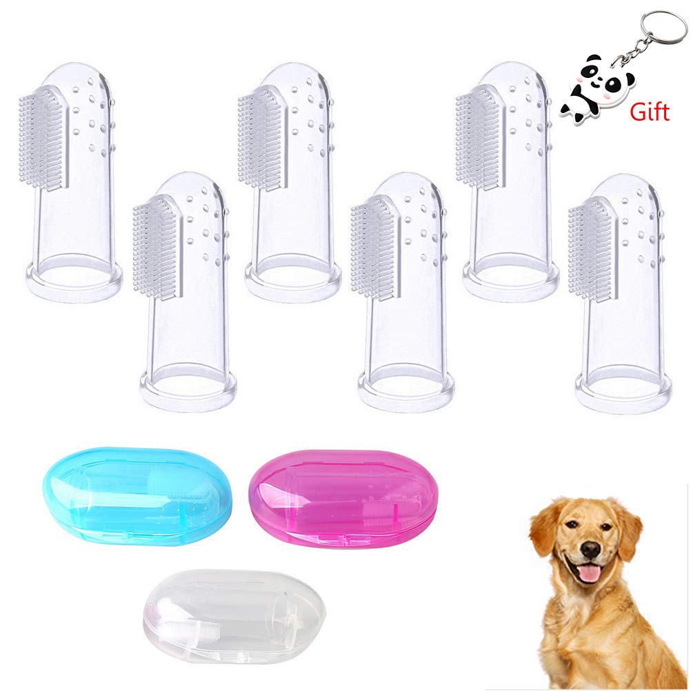 Yuanzi 6 Packs Dog Finger Toothbrush,Silicone Tooth Cleaner with 3 PCS Storage Teeth Cleaning Cases Pet Dental Care for Dogs Cats