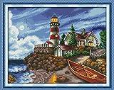 Kreuzstich Stickerei - Das beste Gezählten Kreuzstich-Set Kunst DIY Handarbeit Stickpackung Set Kit Home Decoration vorgedruckt Leuchtturm am Meer Muster 54 * 44cm(Enthält den Rahmen nicht)