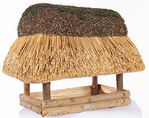 Vogelhaus mit Reetdach Futterhaus Futterstation – eckig – traditionell eingedeckt - 4