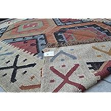 Alfombra Kilim hexagonal 5pies x 7pies (150cm x 210cm) Tejido a mano persa tradicional lana tipo algodón yute