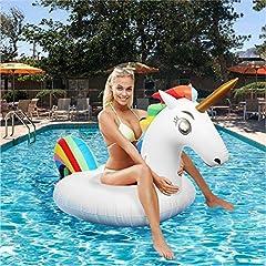 Idea Regalo - BXooo Gonfiabile Unicorno Giocattoli Piscina, Gonfiabile Giocattolo per Festa in Piscina Mare valvole Rapide per Bambini Ragazze Adulti Esterno Spiaggia Oceano Lago Fiume