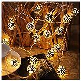 AJDGL AJDGL LED Globe Lichterketten, Marokkanische Kugel Kugel Lichterkette dekorativ Batteriebetrieben, wasserdichte Sternenlichterkette zum Draussen Garten Patio-Party Festival Party (2 Stück)