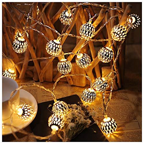 AJDGL LED Globe Lichterketten, Marokkanische Kugel Kugel Lichterkette dekorativ Batteriebetrieben, wasserdichte Sternenlichterkette zum Draussen Garten Patio-Party Festival Party (2 Stück) -
