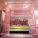 U corte tipo litera mosquitero cama dosel, Carril tipo Niños Mallas para las camas de cucheta 50d cifrado cuenta hilo mosquito cortina-rosado Queen1