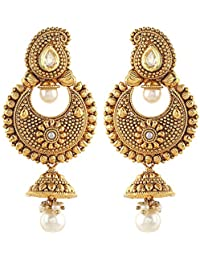Royal Bling Multicolor Metal Pearl Chandbali Dangle & Drop Earrings For Women