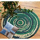 The Home Talk Round Shape Braided Jute Door Mats (80 cm, Green and Blue)