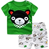 Hopscotch Unisex Cotton Teddy Print Half Sleeve Short Set in Green Color