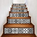 MTX Ltd Westlichen Stil Kreative Wanddekoration Kreative 3D Schwarz und Weiß Arabischen Stil Drucktreppe Aufkleber Wasserdicht Selbstklebende DIY Keramik Fliesen Wandbild 18 * 100 cm * 6 Stücke