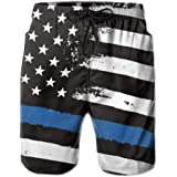 ZHIZIQIU Men's Thin Blue Line Flag Police Quick Dry Swim Pants Athletic Beach Board Shorts