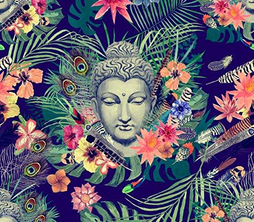 TEXTIL TARRAGO Fouta Estampado Gigante Impresion Digital fotografica 4D 210x240 cm 100% Algodon Buda Flores