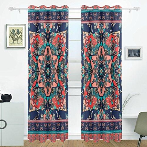 JSTEL Ethnic Bandana Print Vorhänge Panels Verdunklung Blackout Tülle Raumteiler für Terrasse Fenster Glas-Schiebetür Tür 139,7x 213,4cm, Set von 2 (Print-panel Vorhänge)