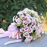 Unbekannt Blumen Hochzeit Hand,Anself White Hochzeit Blume Strauß Dekoration Zubehör Mit Hand Gemacht Diamant Rosen,E