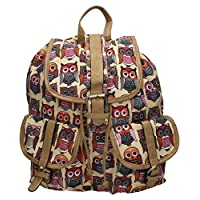Rue Owl Print Backpack Rucksack School Bag - SwankySwans