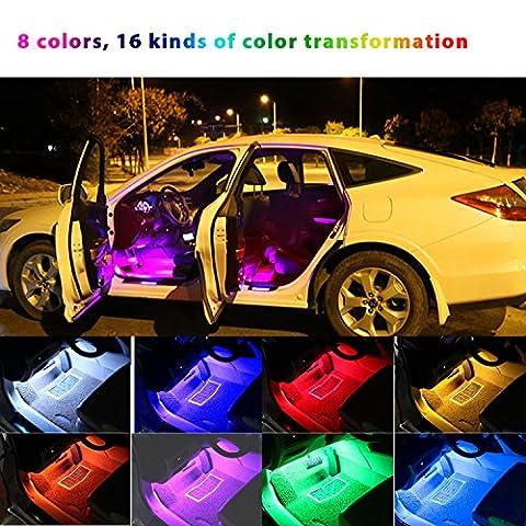 Bande lumineuse de voiture 18Led * 4 HOMEASY Lumière d' ambiance 16 Modes LED RGB Multicouleurs Lampe Intérieur Voiture Musique Dynamique DJ & Tendre Télécommande Sans Fil USB 5V Atmosphère ROMANTIQUE JOLI Déco Auto