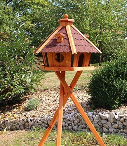 MAXI Vogelhaus Vogelhäuser mit Ständer 70 x 48 cm behandelt (Rot)
