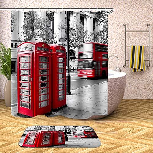 ZZZdz Graue Stadt. Rote Telefonzelle Und Bus. Wasserdichter Duschvorhang Im Bad. 180X180Cm. Teppich. Plus Samt. 40X60Cm. Wohnkultur Badzubehör. (Rote Und Teppich Graue)