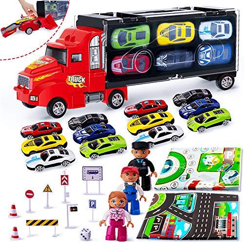 r LKW Truck Tragbarer mit 12 Autos und 3 Puppen 2 Karten 9 Verkehrsschild für 3 4 5Jahre Gutes Geschenk ()
