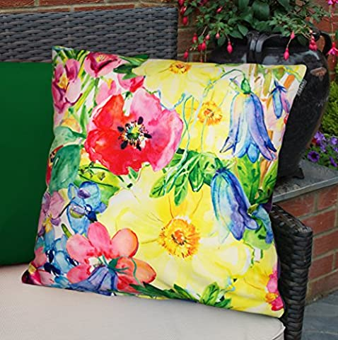 Colourful Waterproof Fibre Filled Outdoor Garden Cushions for Chairs and Benches - Painterly Floral