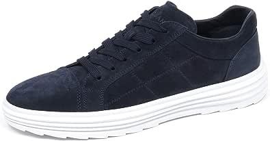 Hogan E4374 Sneaker Basso Uomo Blu H341 Helix Scarpe Suede Shoe Man