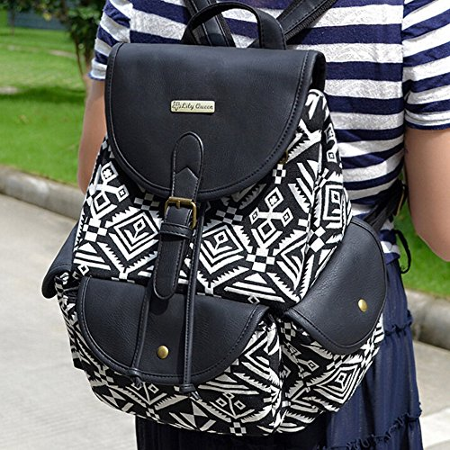 BYD - Donna Female zainetto backpack School Bag Travel Bag Printed Flower Design with Metal Brand Card and PU Leather Flip Nero