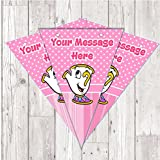 BP64 Chip mug cup beauty and the beast personalised bunting x 10 A5 Flags on tick glossy card with ribbon birthday party