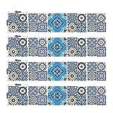 MTX Ltd Westlichen Stil Kreative Wanddekoration 10 * 10 cm Kleine Multicolor Arabischen Blumen Muster Selbstklebende Wasserdichte DIY Simulation Keramikfliesen Aufkleber Wandbild 20 Stücke