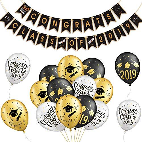 �ckwunsch abschluss deko 2019 we Are so Proud of You Banner mit Luftballons Graduation Cap Dekorationen für Graduierung Abschlussfeier Party Dekorationen ()