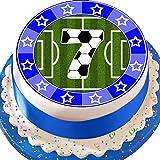 vorgeschnittenen essbare Deko-silikonformkuchendekoration, 19,1cm Fußball blau 7. Birthday Cake Topper n0335