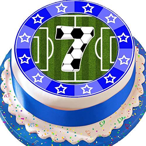 (vorgeschnittenen essbare Deko-silikonformkuchendekoration, 19,1cm Fußball blau 7. Birthday Cake Topper n0335)
