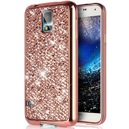 galaxy s5 mini gold SainCat Silikon Hülle Glitzer Kristall Bling Glänzend Glitzer Handyhülle Gel TPU Silikon Schutzhülle Weichem Handytasche Silikonhülle Schutz Tasche Etui für Samsung Galaxy S5 Mini (Rose Gold)