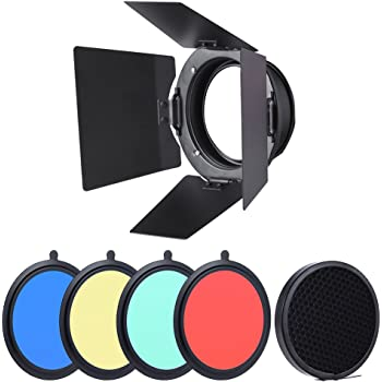 PIXAPRO/® Metal Universal Barn Door Kit with Honeycomb Grid and 4 Colour Gels Narrow Spread Light Control Hard Rim Hair Light Fit up to 7.5 Reflector *Fast Delivery *UK Stock *VAT Registered