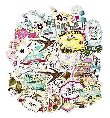 Facraft Scrapbooking Fournitures Ephemera vintage Scrapbooking Stickers prédécoupé Lot, 50pièces Assortiments de Couleurs/Designs Elements pour sortes de thèmes