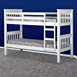 Marko Furniture Solid Pine Wooden Bed Frames Single Double King Bunk Triple Sleigh White Natural Wood 3FT/4FT 6/5FT (Single Bunk Bed Frame)