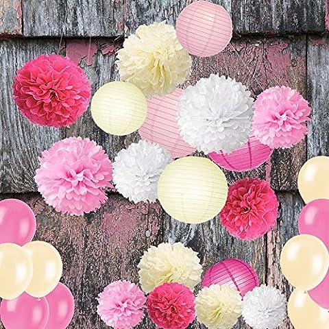 Wartoon Seidenpapier Pompons Blumen Ball, Luftballons und Papierlaterne Dekorpapier Kit für Geburtstag, Hochzeit, Baby Dusche, Hauptdekorationen, Partei Dekoration - 28 Stück ( Rosa (Blumen Pappteller)