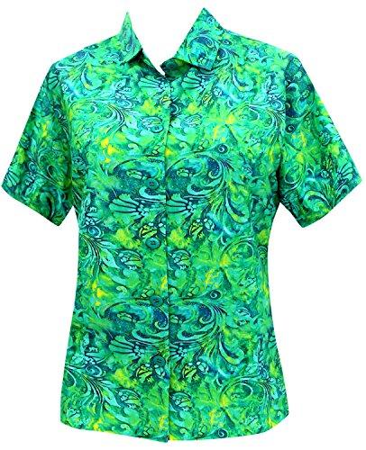 La Leela Hawaii-Hemd Blusen-Taste Nach Unten Entspannt Fit Frauen mit Kurzen Ärmeln Lager Grün s (Nach Grüne Taste Shirt Unten)