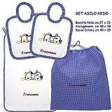 Coccole- Set ASILO NIDO macchina blu - 4 pezzi: 2 bavaglini, 1 asciugamano e 1 sacca con nome personalizzato per asilo nido - blu – 3 mesi - 3 anni