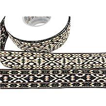 Cinta de jacquard multicolor de 25 mm de ancho, bordado étnico para decoración, manualidades