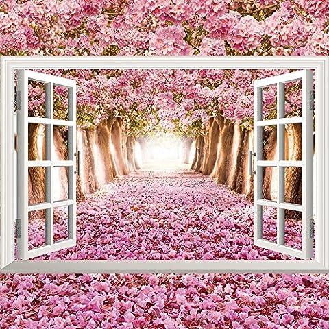 Wall 3d stereoscopic emulation windows landscape posters marine lavender 90*60cm,1000