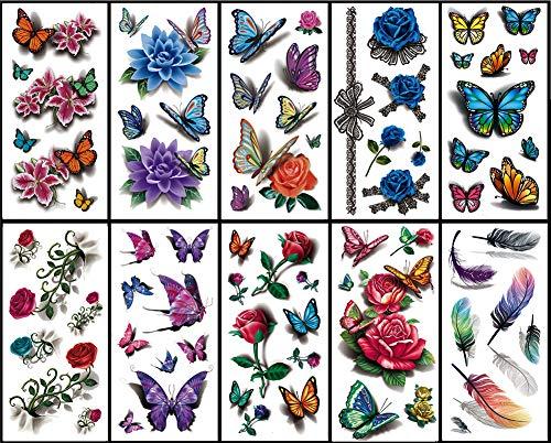 Tattoo-Aufkleber Kleine Arm Tattoo Aufkleber Schlüsselbein Niedlich Wasserdicht Tattoo Aufkleber 10 Tattoo-Sets ()
