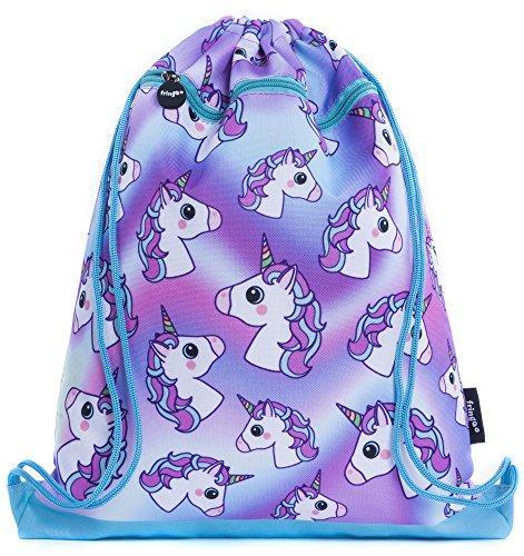 FRINGOO® Kids Drawstring Bag With Front Zipped Pocket PE Kit Bag School Backpack (L:34cm*H:42,5cm, Hologram Unicorns)