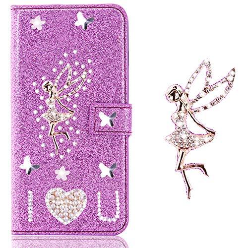 Preisvergleich Produktbild Bling Diamant Funkeln Card Slots für Samsung A40, Glitzer Pocket BookStyle Slim Schutzhülle Flip Folio Wallet Stand Kartenfach Leder Etui Hülle Case