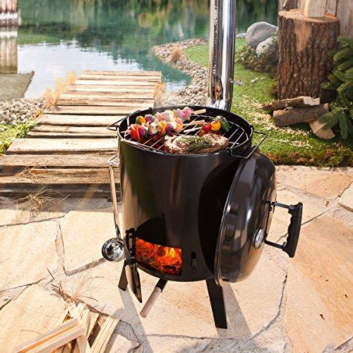 61OgsRS1ElL - BRAST Eintopfofen mit Grillfunktion Ofen Kugelgrill Grill Outdoor-Küche Gulaschkanone Suppenkessel Hähnchenbräter Ungarischer Gulaschkessel aus Stahlblech emailliert Dreibein inkl. Zubehör